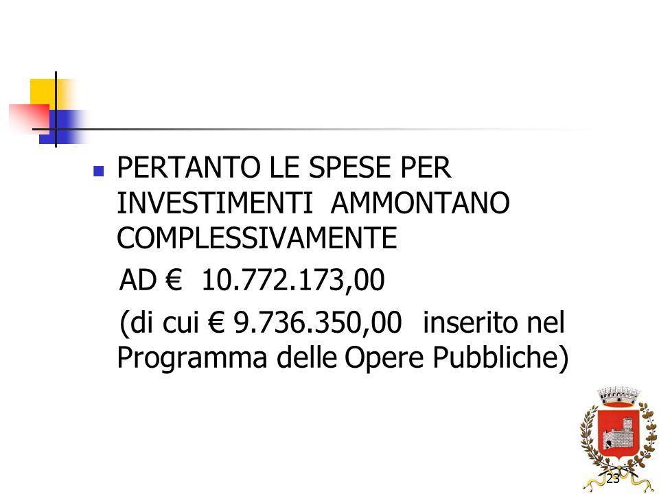 23 PERTANTO LE SPESE PER INVESTIMENTI AMMONTANO COMPLESSIVAMENTE AD 10.772.173,00 (di cui 9.736.350,00 inserito nel Programma delle Opere Pubbliche)
