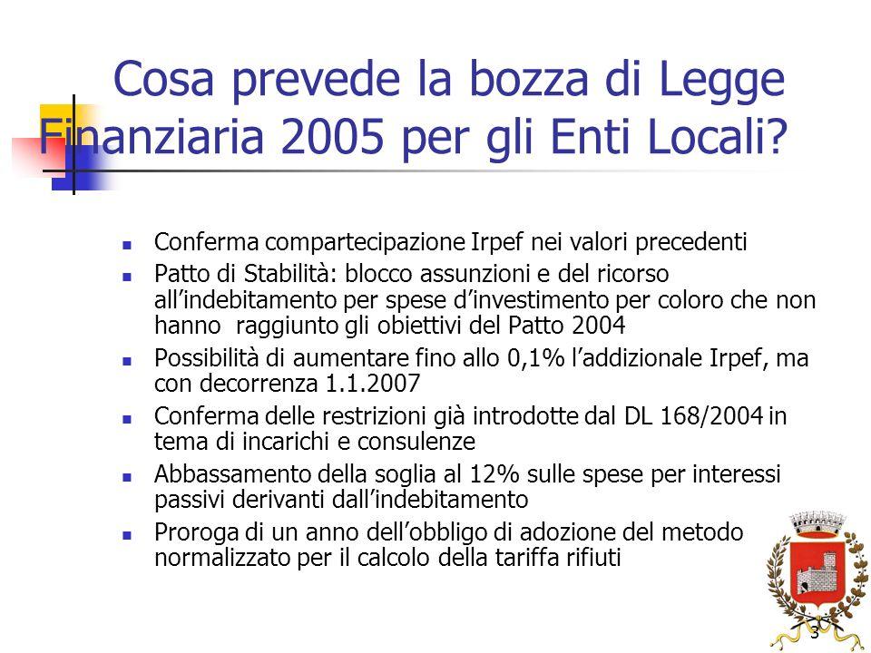 3 Cosa prevede la bozza di Legge Finanziaria 2005 per gli Enti Locali.