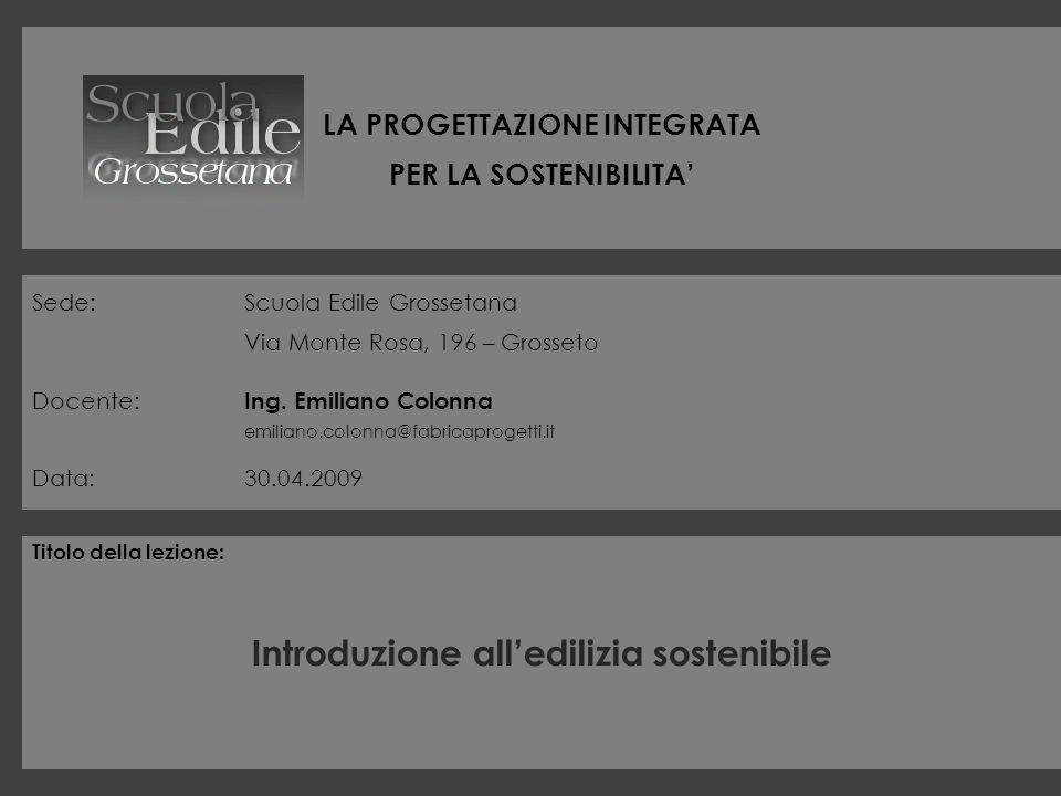 LA PROGETTAZIONE INTEGRATA PER LA SOSTENIBILITA Sede:Scuola Edile Grossetana Via Monte Rosa, 196 – Grosseto Docente: Ing. Emiliano Colonna emiliano.co