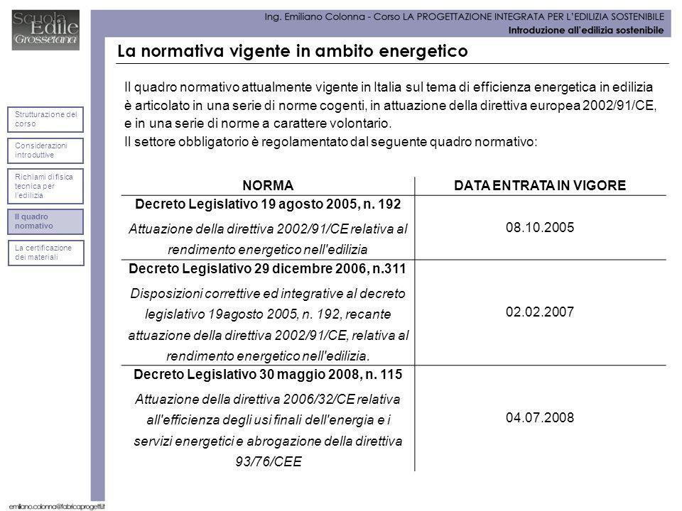 La normativa vigente in ambito energetico Il quadro normativo attualmente vigente in Italia sul tema di efficienza energetica in edilizia è articolato in una serie di norme cogenti, in attuazione della direttiva europea 2002/91/CE, e in una serie di norme a carattere volontario.