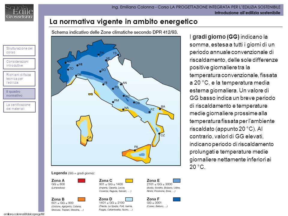 La normativa vigente in ambito energetico I gradi giorno (GG) indicano la somma, estesa a tutti i giorni di un periodo annuale convenzionale di riscal