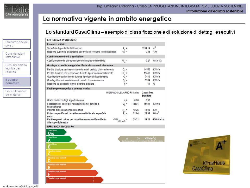 La normativa vigente in ambito energetico Lo standard CasaClima – esempio di classificazione e di soluzione di dettagli esecutivi Considerazioni intro