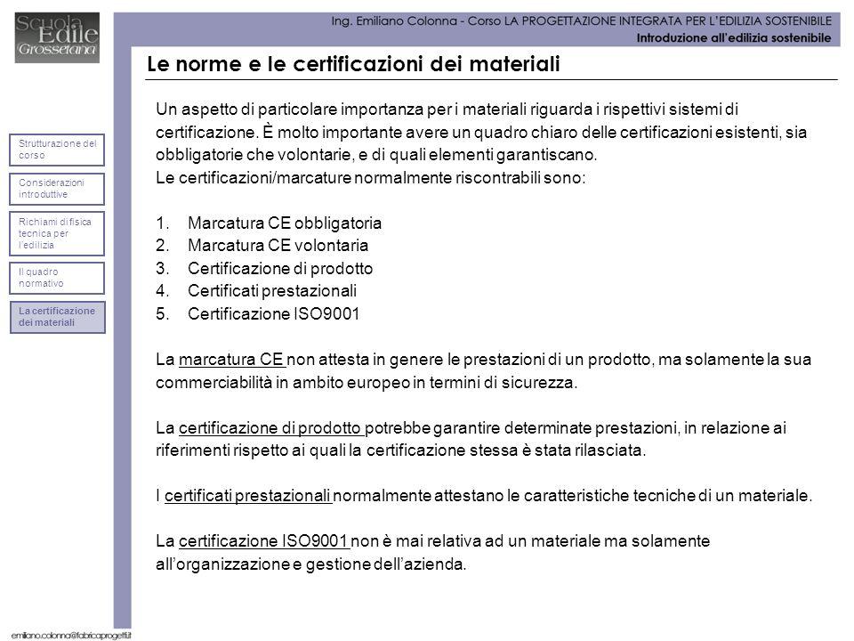 Considerazioni introduttive Strutturazione del corso Richiami di fisica tecnica per ledilizia Il quadro normativo Le norme e le certificazioni dei materiali Un aspetto di particolare importanza per i materiali riguarda i rispettivi sistemi di certificazione.