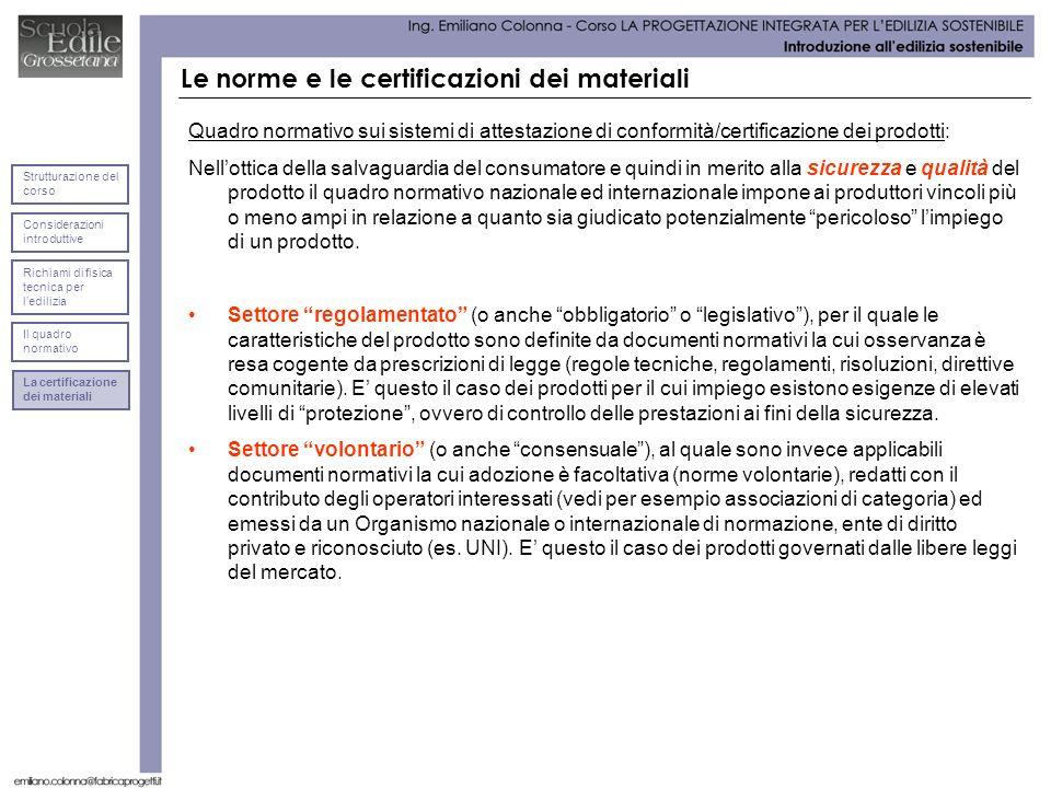 Le norme e le certificazioni dei materiali Quadro normativo sui sistemi di attestazione di conformità/certificazione dei prodotti: Nellottica della sa