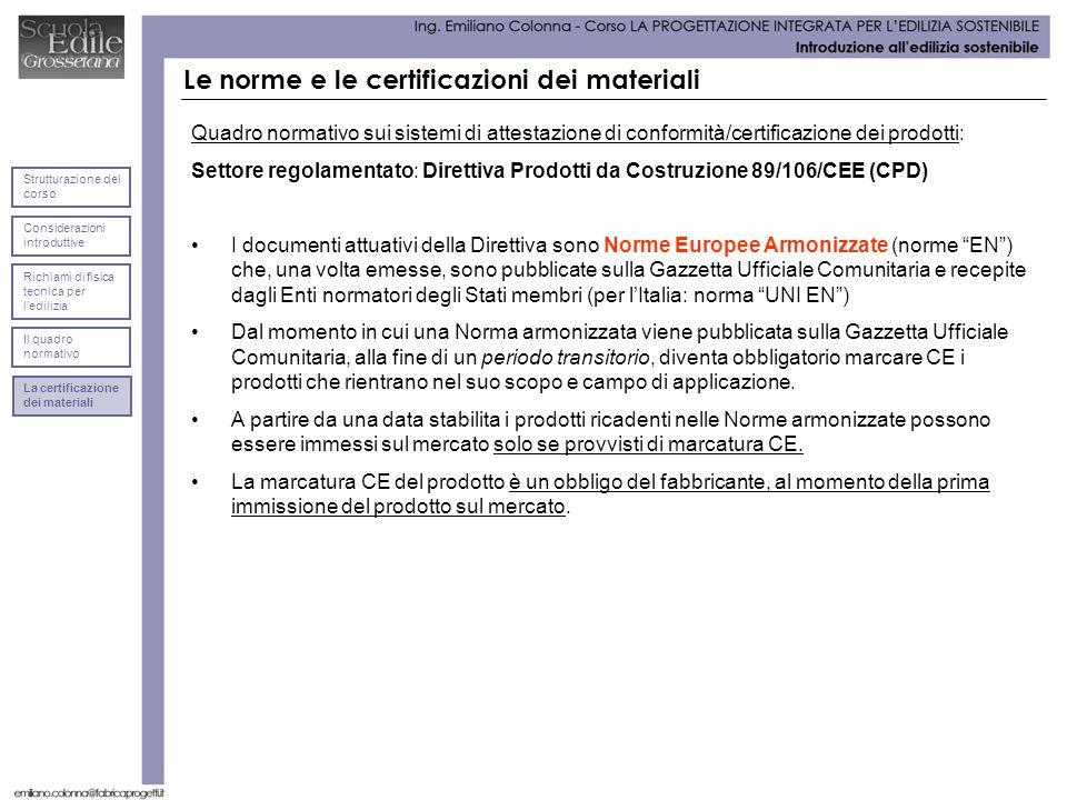 Le norme e le certificazioni dei materiali Quadro normativo sui sistemi di attestazione di conformità/certificazione dei prodotti: Settore regolamentato: Direttiva Prodotti da Costruzione 89/106/CEE (CPD) I documenti attuativi della Direttiva sono Norme Europee Armonizzate (norme EN) che, una volta emesse, sono pubblicate sulla Gazzetta Ufficiale Comunitaria e recepite dagli Enti normatori degli Stati membri (per lItalia: norma UNI EN) Dal momento in cui una Norma armonizzata viene pubblicata sulla Gazzetta Ufficiale Comunitaria, alla fine di un periodo transitorio, diventa obbligatorio marcare CE i prodotti che rientrano nel suo scopo e campo di applicazione.