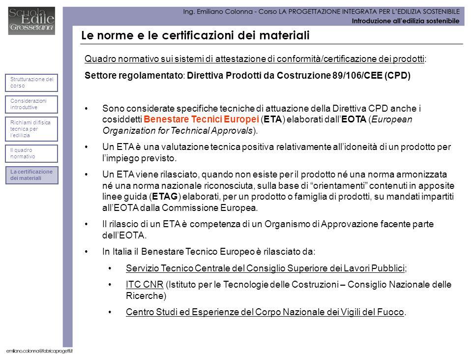 Le norme e le certificazioni dei materiali Quadro normativo sui sistemi di attestazione di conformità/certificazione dei prodotti: Settore regolamentato: Direttiva Prodotti da Costruzione 89/106/CEE (CPD) Sono considerate specifiche tecniche di attuazione della Direttiva CPD anche i cosiddetti Benestare Tecnici Europei (ETA) elaborati dallEOTA (European Organization for Technical Approvals).