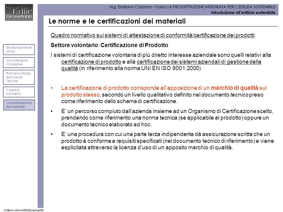 Le norme e le certificazioni dei materiali Quadro normativo sui sistemi di attestazione di conformità/certificazione dei prodotti: Settore volontario: Certificazione di Prodotto I sistemi di certificazione volontaria di più diretto interesse aziendale sono quelli relativi alla certificazione di prodotto e alla certificazione dei sistemi aziendali di gestione della qualità (in riferimento alla norma UNI EN ISO 9001:2000) La certificazione di prodotto corrisponde allapposizione di un marchio di qualità sul prodotto stesso, secondo un livello qualitativo definito nel documento tecnico preso come riferimento dello schema di certificazione.