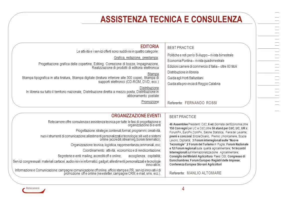 4 ASSISTENZA TECNICA E CONSULENZA EDITORIA Le attività e i servizi offerti sono suddivisi in quattro categorie : Grafica, redazione, prestampa; Proget