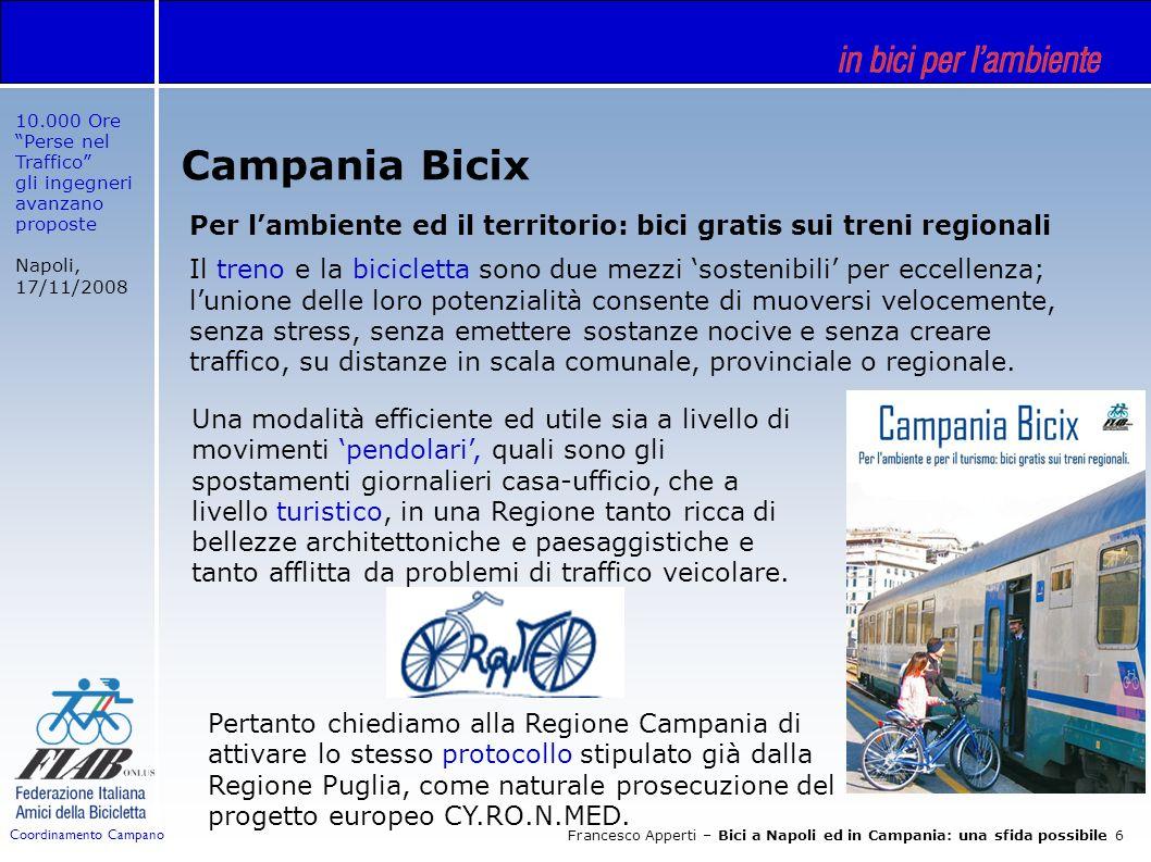 10.000 Ore Perse nel Traffico gli ingegneri avanzano proposte Napoli, 17/11/2008 Francesco Apperti – Bici a Napoli ed in Campania: una sfida possibile