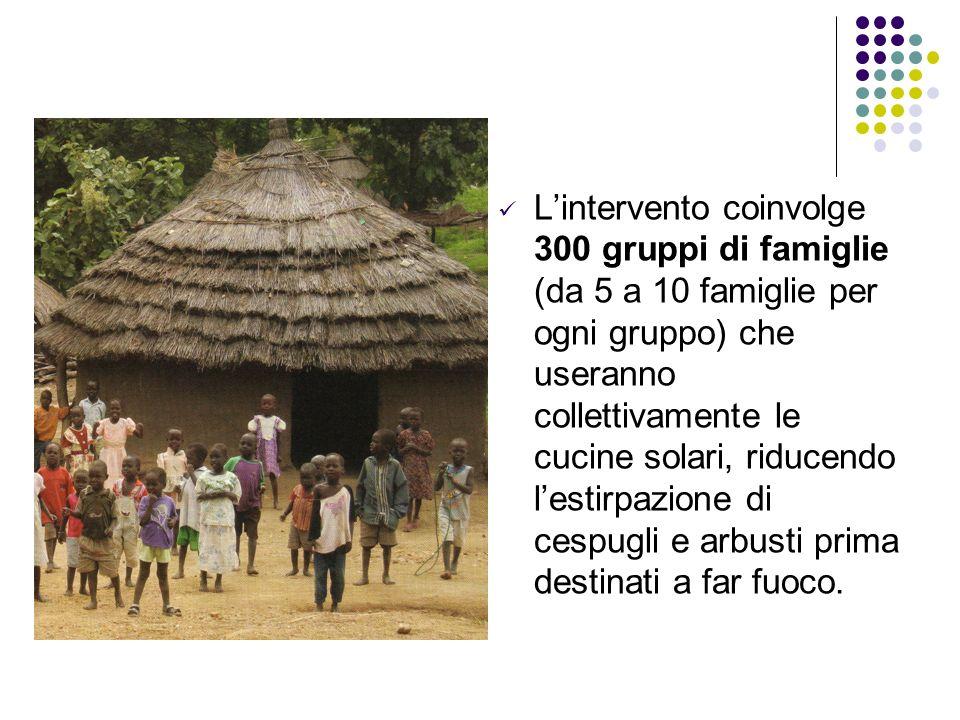 Lintervento coinvolge 300 gruppi di famiglie (da 5 a 10 famiglie per ogni gruppo) che useranno collettivamente le cucine solari, riducendo lestirpazio