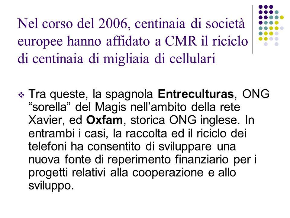 Nel corso del 2006, centinaia di società europee hanno affidato a CMR il riciclo di centinaia di migliaia di cellulari Tra queste, la spagnola Entrecu