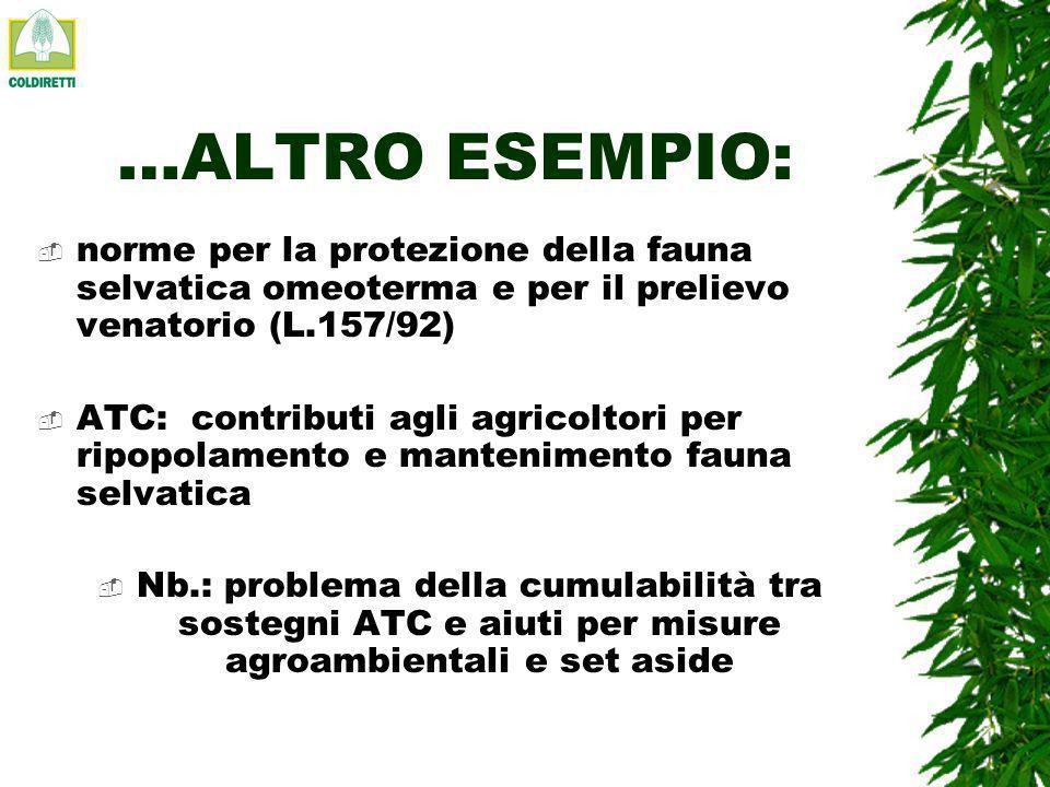 UN ESEMPIO: COME LE AZIENDE AGRICOLE DELLEMILIA ROMAGNA HANNO ADERITO ALLE MISURE AGRO-AMBIENTALI (dati 2001) Su 108.000 imprese agricole, 3.857 (il 3.6% ) hanno aderito alla misura 2F agroambiente per 70.708 ettari dei quali: 46% produzione integrata* 37% biologico* 8% regime sodivo 3% ripristino e conservazione spazi naturali 2% inerbimento colture arboree* 2% Incremento materia organica* 1% colture intercalari* 1% riequilibrio allevamento bovino* 0 biodiversità vegetale NB lazione pianificazione ambientale aziendale ha interessato solo 600 ettari * Le azioni relative alle voci asteriscate assorbono il 73% del finanziamento complessivo della misura 2F (18.