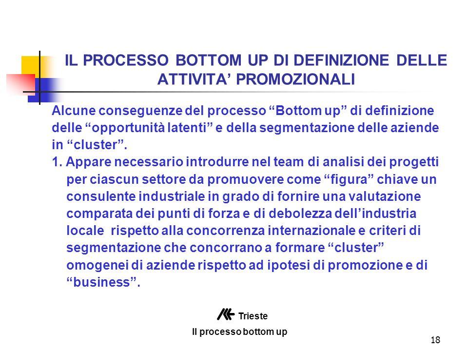 18 IL PROCESSO BOTTOM UP DI DEFINIZIONE DELLE ATTIVITA PROMOZIONALI Alcune conseguenze del processo Bottom up di definizione delle opportunità latenti e della segmentazione delle aziende in cluster.