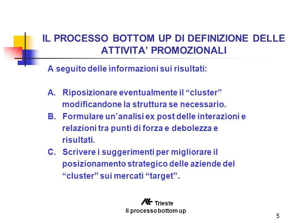 5 IL PROCESSO BOTTOM UP DI DEFINIZIONE DELLE ATTIVITA PROMOZIONALI A seguito delle informazioni sui risultati: A.Riposizionare eventualmente il cluster modificandone la struttura se necessario.