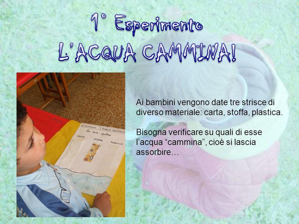 Ai bambini vengono date tre strisce di diverso materiale: carta, stoffa, plastica. Bisogna verificare su quali di esse lacqua cammina, cioè si lascia