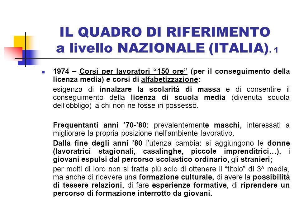 IL QUADRO DI RIFERIMENTO a livello NAZIONALE (ITALIA). 1 1974 – Corsi per lavoratori 150 ore (per il conseguimento della licenza media) e corsi di alf