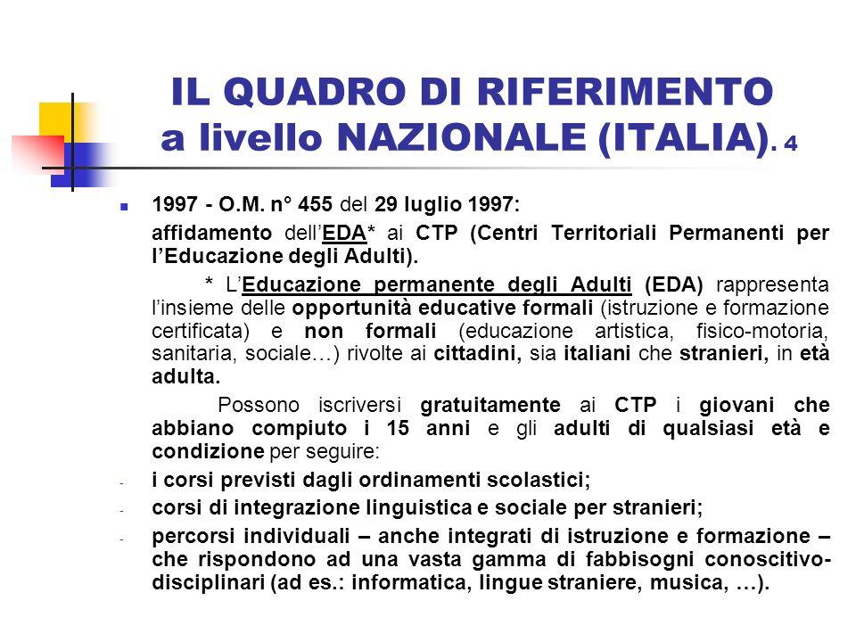 IL QUADRO DI RIFERIMENTO a livello NAZIONALE (ITALIA). 4 1997 - O.M. n° 455 del 29 luglio 1997: affidamento dellEDA* ai CTP (Centri Territoriali Perma