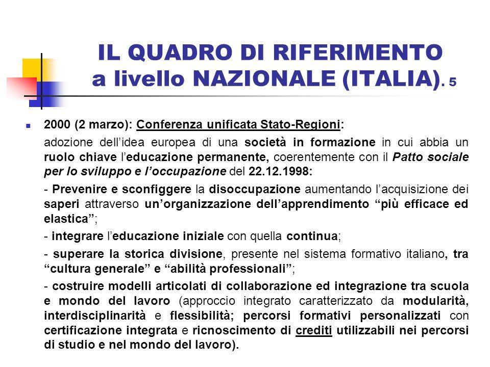 IL QUADRO DI RIFERIMENTO a livello NAZIONALE (ITALIA). 5 2000 (2 marzo): Conferenza unificata Stato-Regioni: adozione dellidea europea di una società
