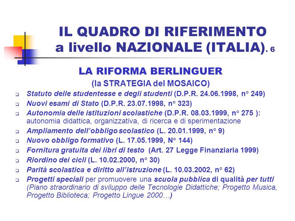 IL QUADRO DI RIFERIMENTO a livello NAZIONALE (ITALIA). 6 LA RIFORMA BERLINGUER (la STRATEGIA del MOSAICO) Statuto delle studentesse e degli studenti (