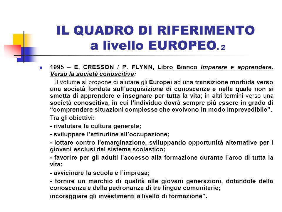 IL QUADRO DI RIFERIMENTO a livello EUROPEO. 2 1995 – E. CRESSON / P. FLYNN, Libro Bianco Imparare e apprendere. Verso la società conoscitiva: il volum