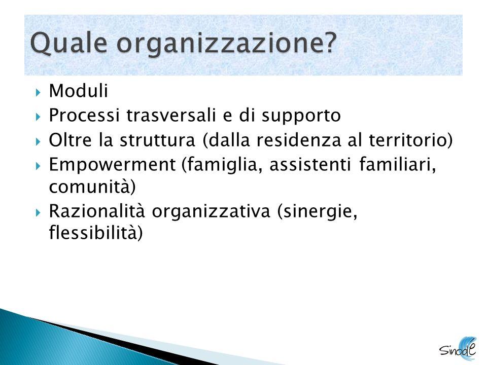 Moduli Processi trasversali e di supporto Oltre la struttura (dalla residenza al territorio) Empowerment (famiglia, assistenti familiari, comunità) Razionalità organizzativa (sinergie, flessibilità)