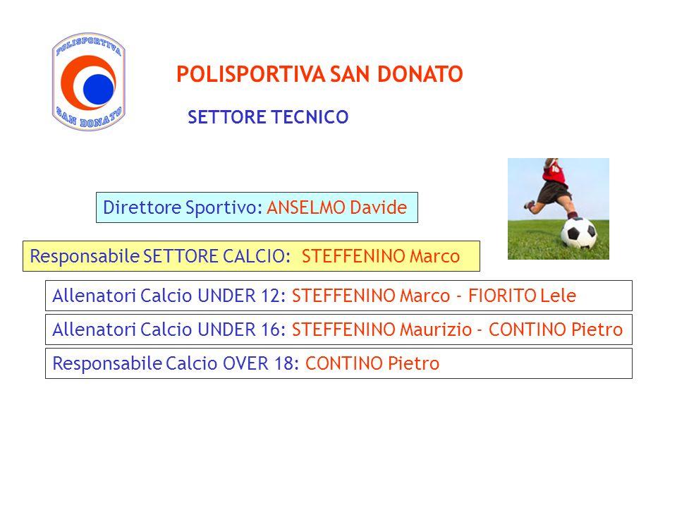 POLISPORTIVA SAN DONATO Responsabile SETTORE CALCIO: STEFFENINO Marco Allenatori Calcio UNDER 12: STEFFENINO Marco - FIORITO Lele Direttore Sportivo: