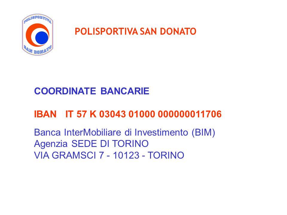 COORDINATE BANCARIE IBAN IT 57 K 03043 01000 000000011706 Banca InterMobiliare di Investimento (BIM) Agenzia SEDE DI TORINO VIA GRAMSCI 7 - 10123 - TO