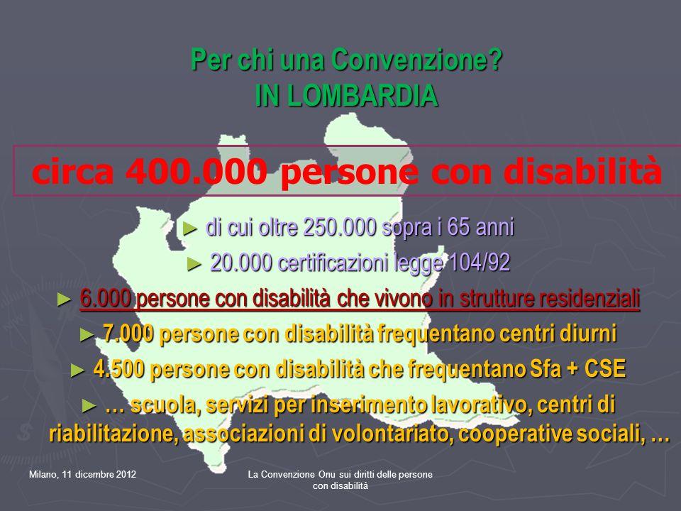 Milano, 11 dicembre 2012La Convenzione Onu sui diritti delle persone con disabilità Per chi una Convenzione.