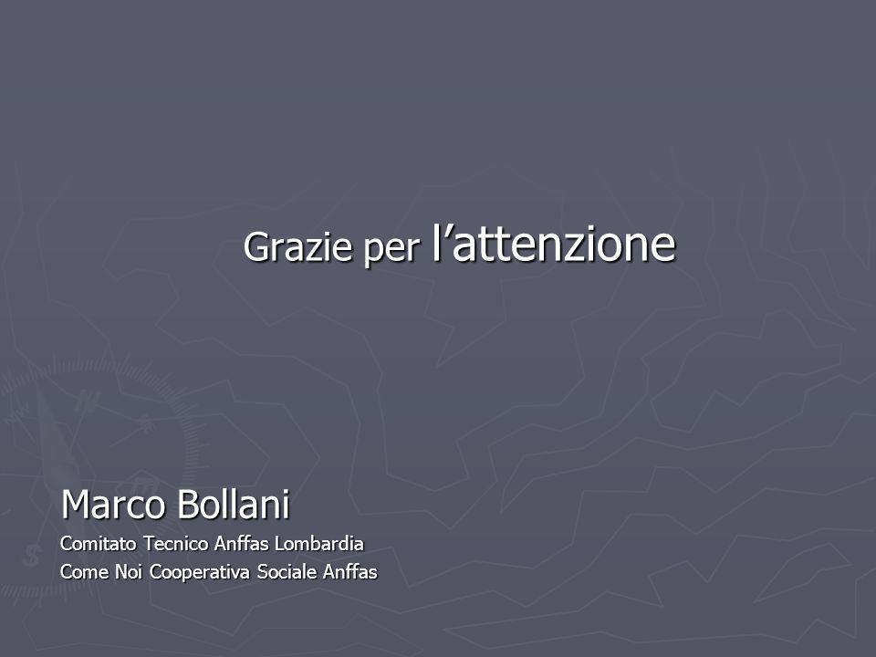Grazie per lattenzione Marco Bollani Comitato Tecnico Anffas Lombardia Come Noi Cooperativa Sociale Anffas