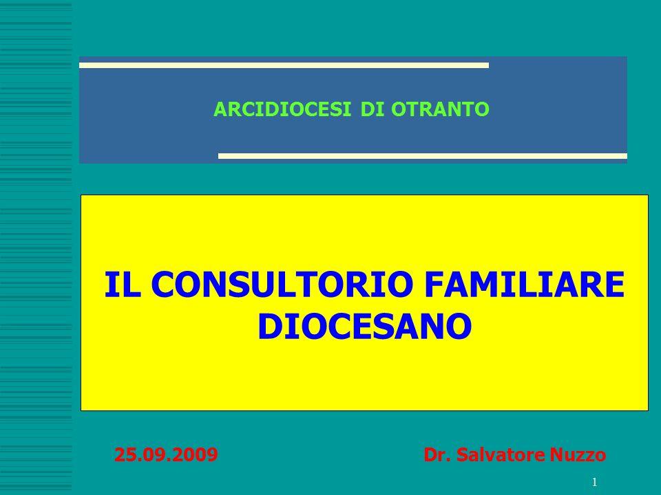 1 ARCIDIOCESI DI OTRANTO IL CONSULTORIO FAMILIARE DIOCESANO 25.09.2009 Dr. Salvatore Nuzzo