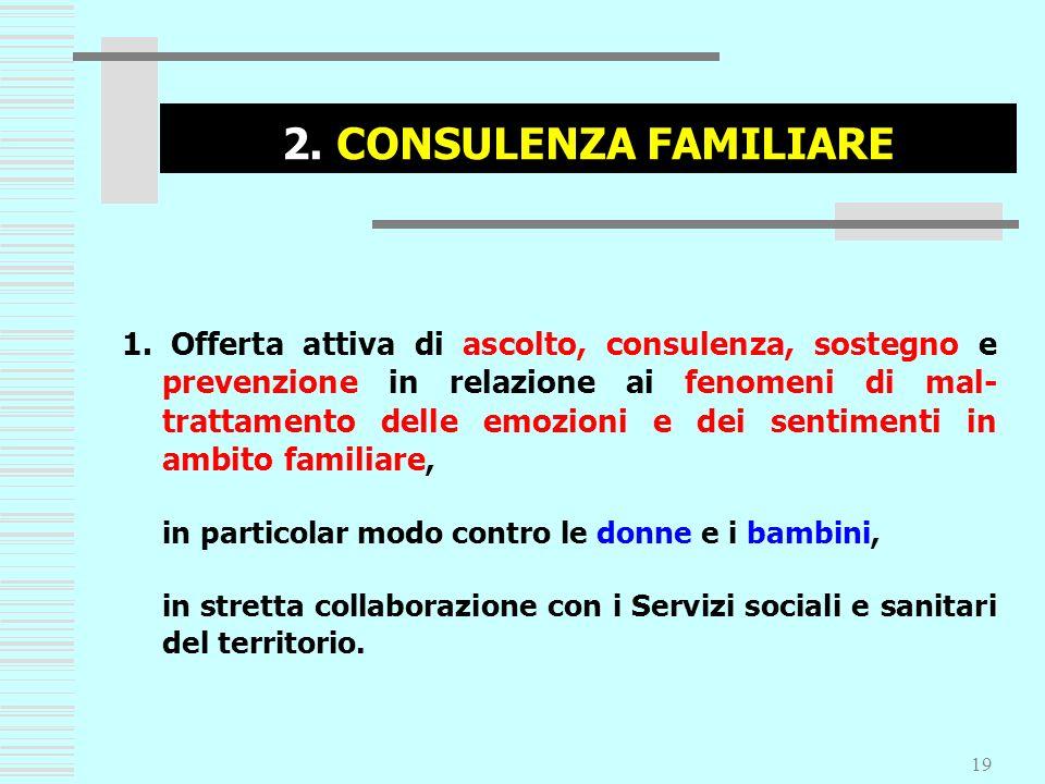 19 2. CONSULENZA FAMILIARE 1. Offerta attiva di ascolto, consulenza, sostegno e prevenzione in relazione ai fenomeni di mal- trattamento delle emozion