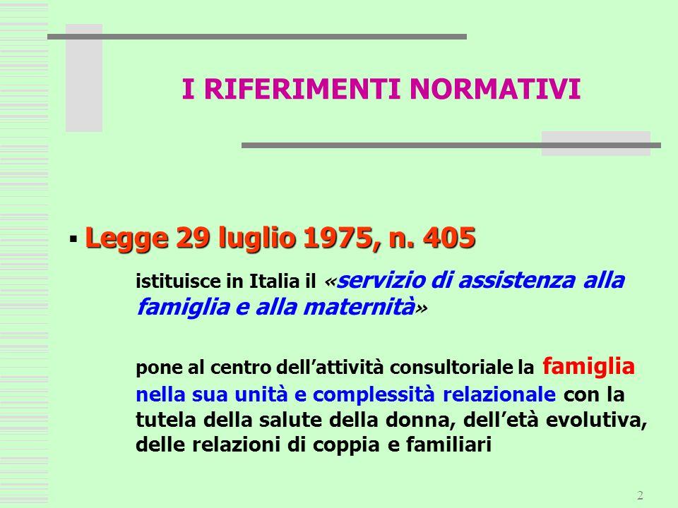 2 Legge 29 luglio 1975, n. 405 istituisce in Italia il « servizio di assistenza alla famiglia e alla maternità » pone al centro dellattività consultor