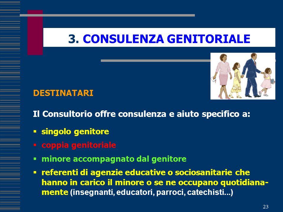 23 3. CONSULENZA GENITORIALE DESTINATARI Il Consultorio offre consulenza e aiuto specifico a: singolo genitore coppia genitoriale minore accompagnato