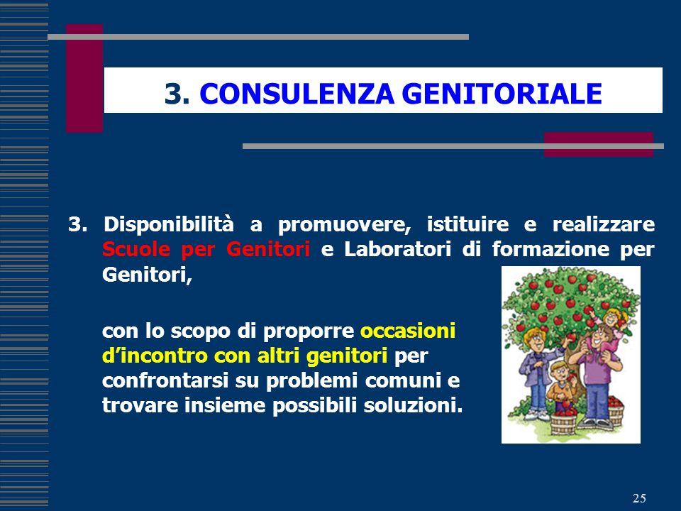 25 3. CONSULENZA GENITORIALE 3. Disponibilità a promuovere, istituire e realizzare Scuole per Genitori e Laboratori di formazione per Genitori, con lo