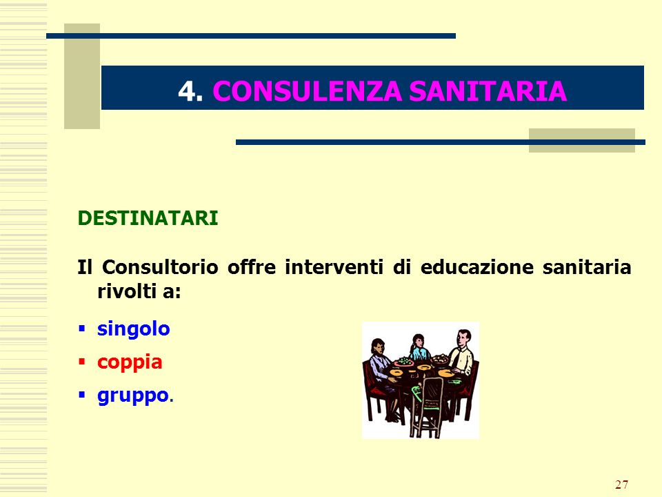 27 4. CONSULENZA SANITARIA DESTINATARI Il Consultorio offre interventi di educazione sanitaria rivolti a: singolo coppia gruppo.