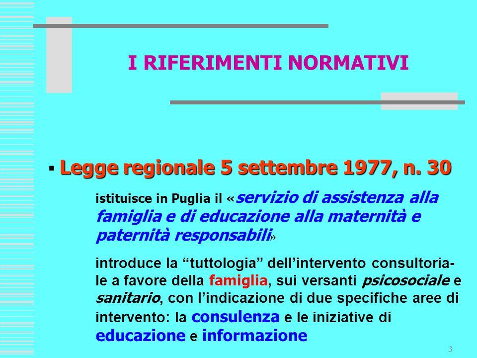 3 Legge regionale 5 settembre 1977, n. 30 istituisce in Puglia il « servizio di assistenza alla famiglia e di educazione alla maternità e paternità re