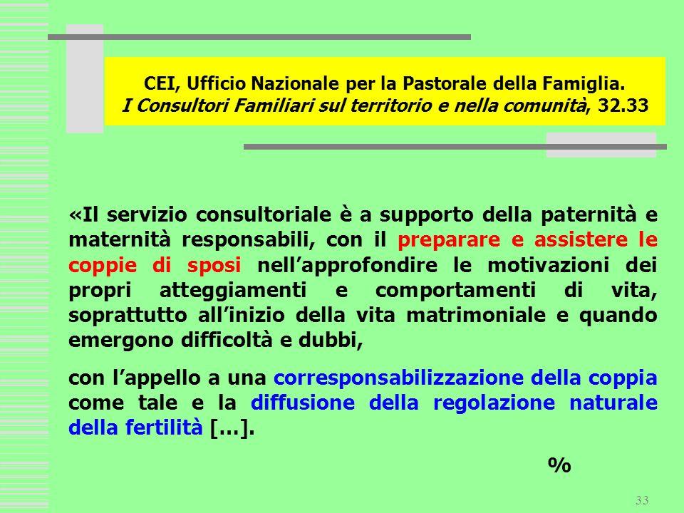 33 CEI, Ufficio Nazionale per la Pastorale della Famiglia. I Consultori Familiari sul territorio e nella comunità, 32.33 «Il servizio consultoriale è
