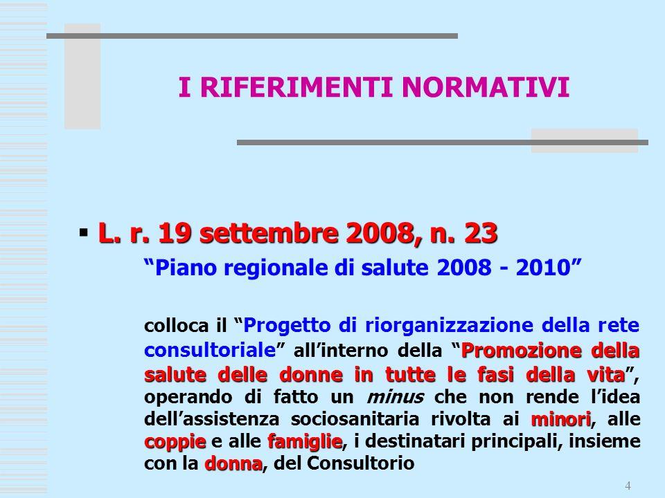 4 L. r. 19 settembre 2008, n. 23 Piano regionale di salute 2008 - 2010 Promozione della salute delle donne in tutte le fasi della vita minori coppiefa