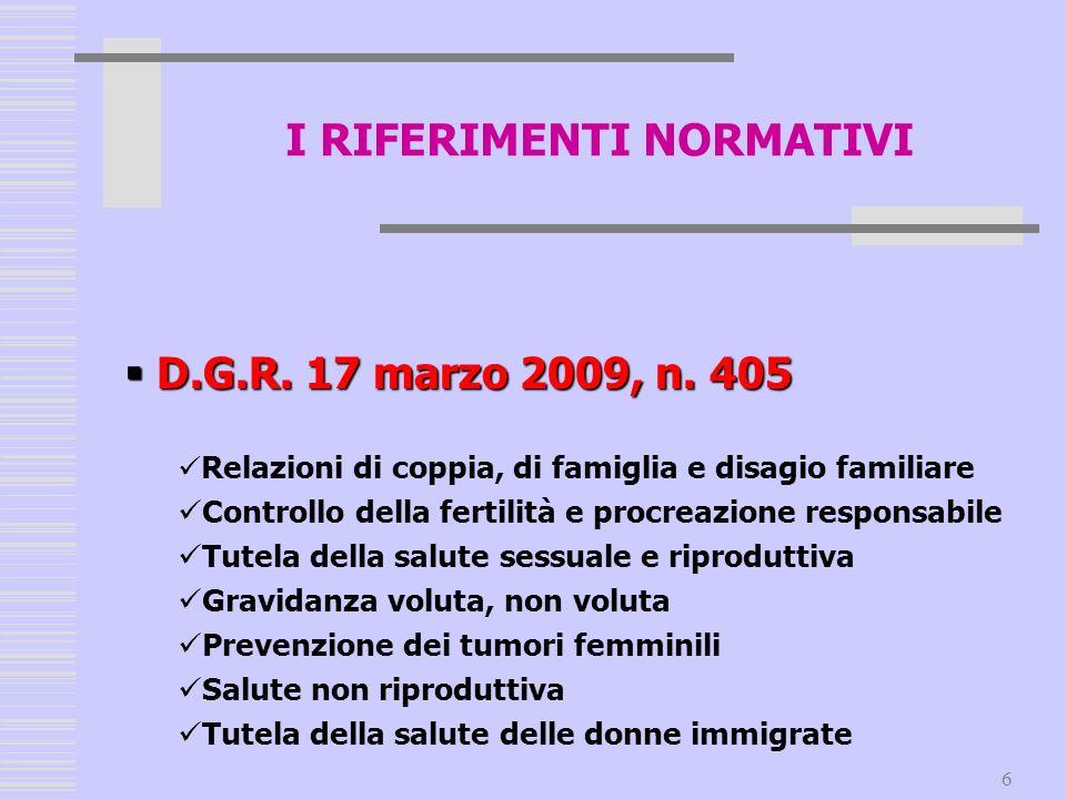 6 D.G.R. 17 marzo 2009, n. 405 D.G.R. 17 marzo 2009, n. 405 Relazioni di coppia, di famiglia e disagio familiare Controllo della fertilità e procreazi