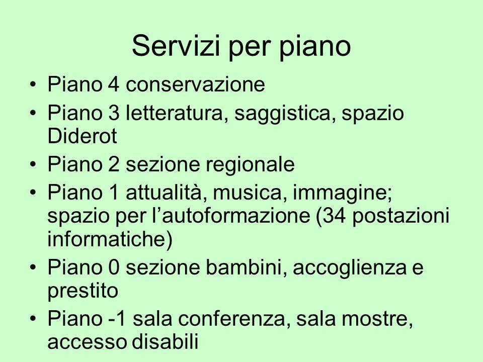 Servizi per piano Piano 4 conservazione Piano 3 letteratura, saggistica, spazio Diderot Piano 2 sezione regionale Piano 1 attualità, musica, immagine;