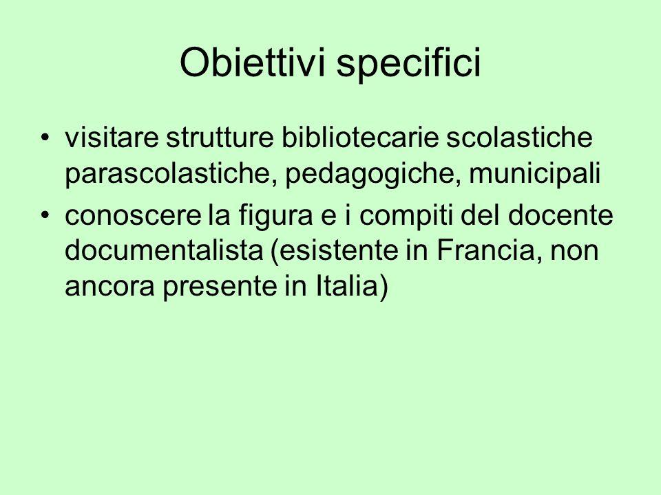 Obiettivi specifici visitare strutture bibliotecarie scolastiche parascolastiche, pedagogiche, municipali conoscere la figura e i compiti del docente