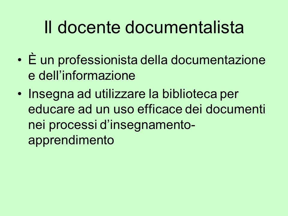Il docente documentalista È un professionista della documentazione e dellinformazione Insegna ad utilizzare la biblioteca per educare ad un uso effica