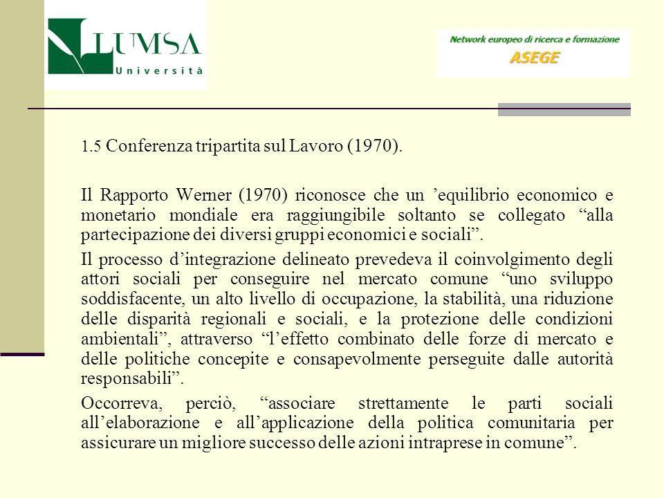 1.5 Conferenza tripartita sul Lavoro (1970). Il Rapporto Werner (1970) riconosce che un equilibrio economico e monetario mondiale era raggiungibile so