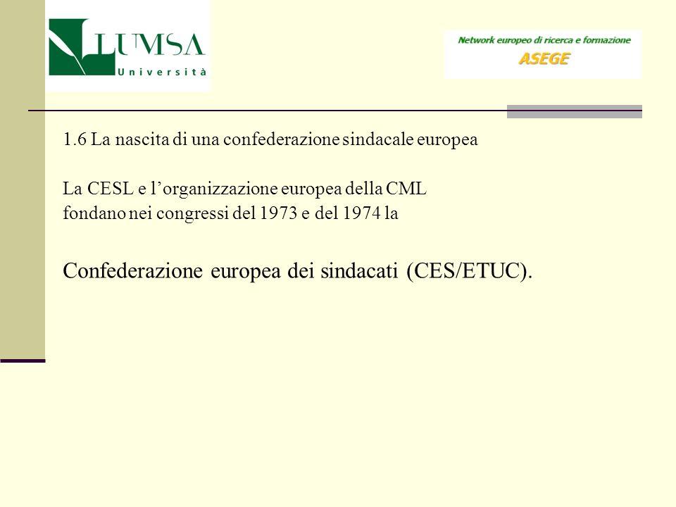 1.6 La nascita di una confederazione sindacale europea La CESL e lorganizzazione europea della CML fondano nei congressi del 1973 e del 1974 la Confed