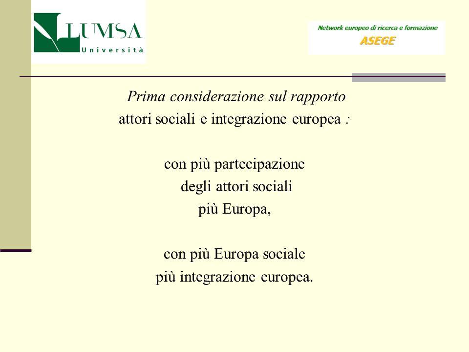 Prima considerazione sul rapporto attori sociali e integrazione europea : con più partecipazione degli attori sociali più Europa, con più Europa socia