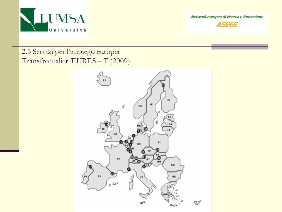 2.5 Servizi per limpiego europei Transfrontalieri EURES – T (2009)