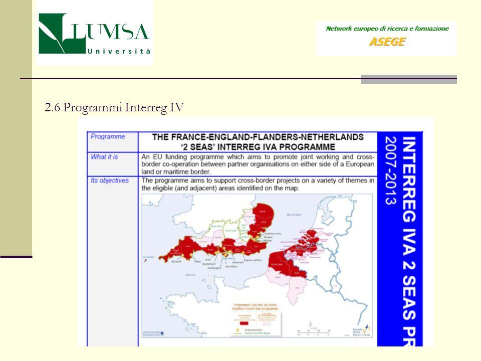 2.6 Programmi Interreg IV