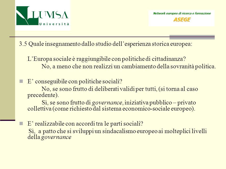 3.5 Quale insegnamento dallo studio dellesperienza storica europea: LEuropa sociale è raggiungibile con politiche di cittadinanza? No, a meno che non