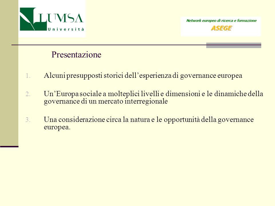 Presentazione 1. Alcuni presupposti storici dellesperienza di governance europea 2. UnEuropa sociale a molteplici livelli e dimensioni e le dinamiche