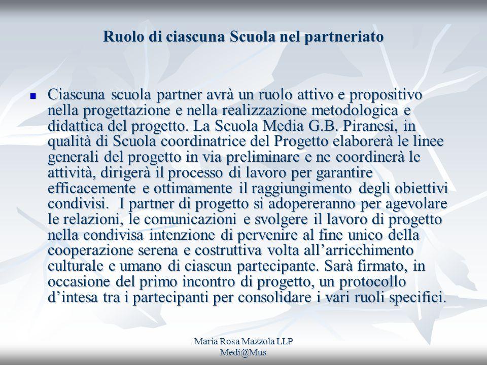 Maria Rosa Mazzola LLP Medi@Mus Ruolo di ciascuna Scuola nel partneriato Ciascuna scuola partner avrà un ruolo attivo e propositivo nella progettazione e nella realizzazione metodologica e didattica del progetto.